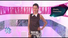 Diseño de moda diseño de indumentaria Nuestra querida conductora Jimena Buttigliengo en Eamoda TV luciendo un diseño realizado por alumna Flavia Dop moldería y estampados de autor