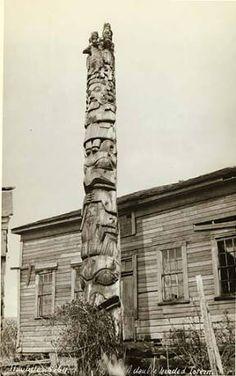 Haida Skolka's totem pole, Howkan village, Long Island, Alaska, ca. 1923. :: American Indians of the Pacific Northwest