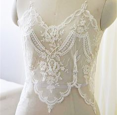 Corded Lace Trim Floral Embroidered Lace Trim Ivory by LaceNTrim