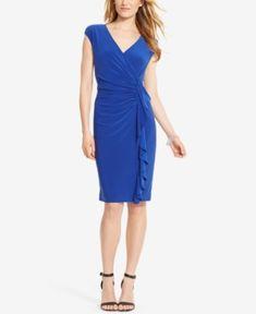 American Living Cap-Sleeve Ruffled Dress - Blue 14