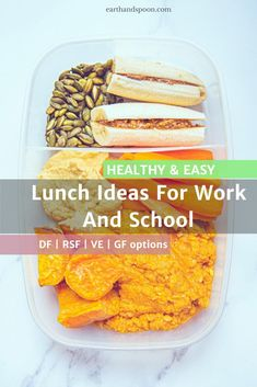 Earth and Spoon Blog - End your lunchtime struggle and prep your packed lunch in advance with these 4 work and school lunch ideas. There are vegan, nut free, dairy free, gluten free and refined sugar free options. #healthyschoollunch #healthyworklunchideas #healthyschoollunchforkids #easyhealthyschoollunchideas #makeaheadlunchideasforwork Healthy Recipes On A Budget, Budget Meals, Dairy Free Recipes, Vegetarian Recipes, Gluten Free, Healthy Lunches For Work, Healthy Meal Prep, Pantry Items Recipe, Lunch To Go