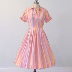 50s Shirtwaist Dress / 1950s Dress, Pink Pastel Striped Cotton Day Dress, Pleated Full Skirt Rockabilly, Kay Windsor, 40B 26W. $50.00, via Etsy.