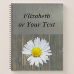 Silver Rustic Daisy Floral Notebook - barn wedding gifts template diy customize personalize marriage
