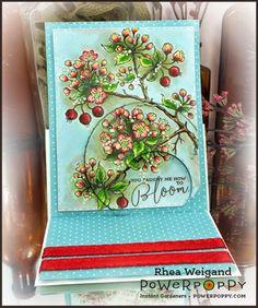 Flowering Branches Digital Stamp Set from Power Poppy, card design byRhea.