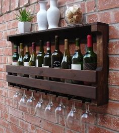 The Effective Pictures We Offer You About DIY Wine Rack cheap A quality picture can tell you many things. You can find the most beautiful pictures that can be presented to you about DIY Wine Rack tabl Hanging Wine Glass Rack, Wine Rack Wall, Wine Glass Holder, Outdoor Pallet Bar, Pallet Wine, Wine Rack Plans, Rustic Wine Racks, Wine House, Home Bar Furniture