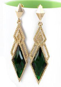 Boucles d'oreilles losange en pierre semi-précieuse verte
