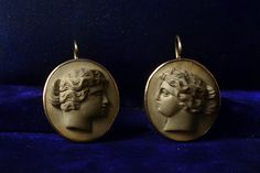 1880s Large Carved Lava Classical Cameo Earrings, 14K Wires, $550 Erie Basin Antiques