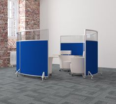 Mobile Office Screens Movable Dividers On Castors With Acoustic Properties Can Also Have Whiteboards Built Within Them