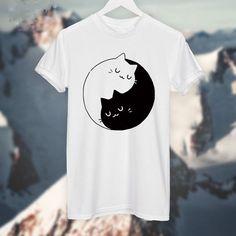 Yin Yang Gatos Gatinhos T SHIRT Das Mulheres T camisa de Algodão Ocasional Camisa Engraçada Para Senhora Top Cinza Branca Tee Hipster em Camisetas de Das mulheres Roupas & Acessórios no AliExpress.com | Alibaba Group