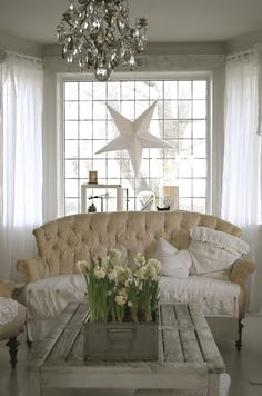 Painted Sofa Living room Whitewashed Cottage chippy shabby chic french country rustic swedish decor idea.   ***Pinned by oldattic ***.