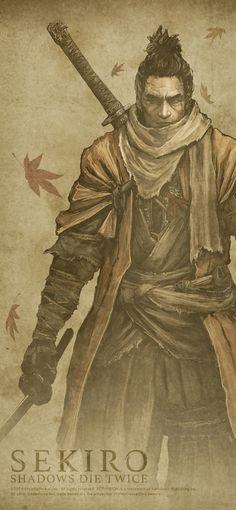 Sekiro: Shadows Die Twice, Wolf Character Concept, Character Art, Character Design, Tattoo Samurai, Demon Tattoo, Ronin Samurai, Soul Saga, Ghost Of Tsushima, Dark Souls Art