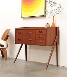 Danish Modern Teak Entry Chest Table Credenza Mid Century Eames Era | Used Mid-Century Modern Furniture Auctions