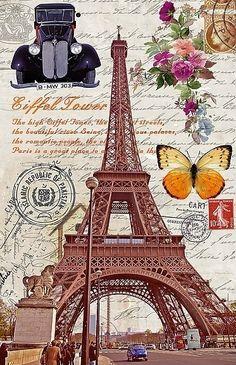Luxmo Colorful Paris Hard Cover Case for Apple iPad Air 2 (crparis) for sale online Vintage Pictures, Vintage Images, Vintage Posters, Vintage Prints, Decoupage Vintage, Vintage Paper, Tour Eiffel, Image Paris, Eiffel Tower Art