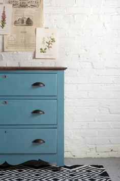 Dresser refurbished and repainted with a custom mix of Annie Sloan's Aubusson Blue + Duck Egg | Top is stained in Varathane's Carrington wood stain.