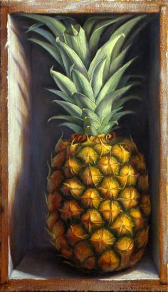 Pineapple by Denise Mickilowski Pineapple Drawing, Pineapple Painting, Pineapple Tattoo, Pineapple Art, Food Art Painting, Fruit Painting, Fruits Drawing, Food Drawing, Vegetable Painting