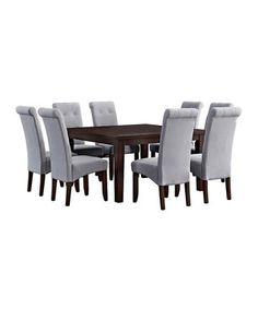 Dove Gray Linen Cosmopolitan Nine-Piece Dining Set