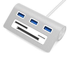 "Amazon.com: Sabrent Premium 3 Port Aluminum USB 3.0 Hub with Multi-In-1 Card Reader (12"" cable) for iMac, MacBook, MacBook Pro, MacBook Air, Mac Mini, or any PC (HB-MACR): Computers & Accessories"