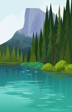 """""""treez"""" Tinysnails Illustration by Chie Landscape Illustration, Landscape Art, Digital Illustration, Graphic Illustration, Graphic Art, Forest Illustration, Gravure Illustration, Graphisches Design, Art Graphique"""