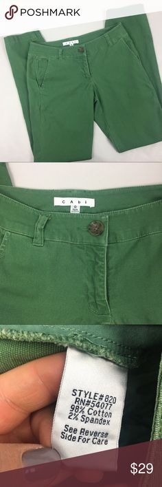 CAbi Green Skinny Trousers No flaws to note. Excellent pair of tapered green pants. Perfect for the holidays and spring time.   Approximate measurements laying flat (in inches):  waist: 14.5 rise: 7.5 inseam: 29.5   sku: A286 CAbi Pants Trousers