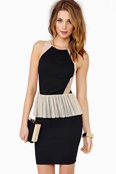 Shadow Shapes Peplum Dress BLACK/PEACH