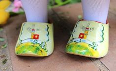 """ee. Historical. Dutch wooden 18"""" doll shoes"""