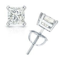 2/3 cttw Princess-Cut Diamond 4-Prong Stud Earrings Platinum with Screw Backs (G-H Color, VS1-VS2 Clarity) Banvari. $1143.50. Made in USA, comes with a FREE certificate of authenticity.. This product comes with a FREE Luxurious Cherrywood Gift Box.. All diamonds used in our jewelry are conflict free and 100% in compliance with the Kimberly Code of Conduct.. All our gold items are responsibly sourced and the majority is made from environmentally processed recycled gold.. Free...