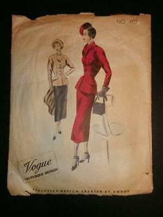 Sewing Pattern From the Unprinted pattern pieces. One pattern piece may be missing, although it. The flap is missing. A little yellowing. Mccalls Sewing Patterns, Simplicity Sewing Patterns, Vintage Sewing Patterns, 1 Piece Dress, Summer Day Dresses, Vintage Vogue, Suits, 1940s, Size 12