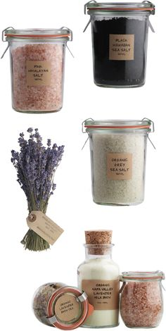 simple gifts...salts in weck jars. create your own bath salts or herbed salts.