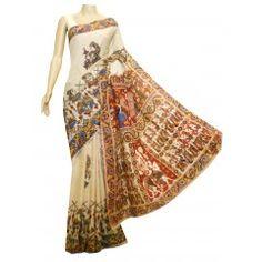 Kolattam silk Kalamkari saree