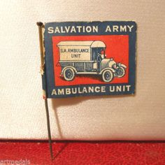 WW1-PAPER-FLAG-DAY-CHARITY-SALVATION-ARMY-AMBULANCE-PIN-BADGE