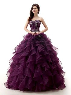 Cheap dress ball gown, Buy Quality gown ball dress directly from China dresse Suppliers: H&S BRIDAL Dark Purple Rose Organza Ball Gown Prom Dresses Quinceanera dresses sweet 16 robe de soiree quinceanera gowns Sweet 16 Dresses, Sexy Dresses, Beautiful Dresses, Prom Dresses, Formal Dresses, Wedding Dresses, Long Prom Gowns, Ball Gowns Prom, Deep Purple