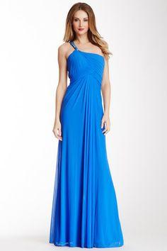 One Shoulder Pleated Gown by La Femme on @HauteLook