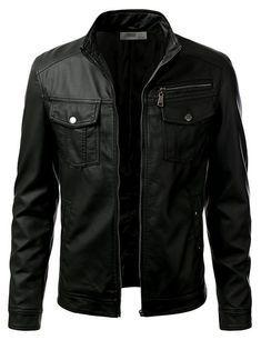 IDARBI Leather Look Motorcycle Bomber Urban Knight Jacket