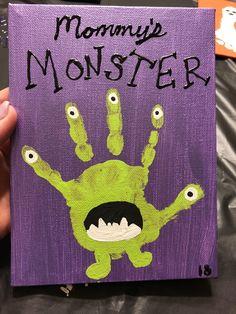 Mommy's Monster Kid Handprint Halloween Arts And Crafts, Halloween Crafts For Toddlers, Halloween Crafts For Kids, Halloween Activities, Toddler Crafts, Halloween Diy, Holiday Crafts, Kids Crafts, Monster Crafts