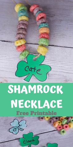 Make this fun and simple Shamrock necklace with your little ones this St Patricks Day. A simple ST Pats Craft for kids. The perfect Preschool activity for leprechaun lovers.