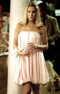 Carrie's adorable bubble hem dress from the Season 5 finale- a genius way of hiding SJP's baby bump