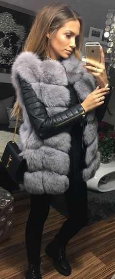 Furry vests are among my favorite things Leather Fur Jacket, Grey Fur Jacket,  Short 7299b390a5e