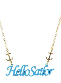 Hello Sailor Necklace by Girly Accessories, BLUE