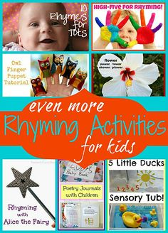 Even More Rhyming Activities for Kids - 7 FUN ways to play with rhyming!  Includes links to research related to teaching rhyming and its importance