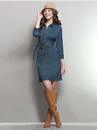 shirt dress- love it with the boots and hat!