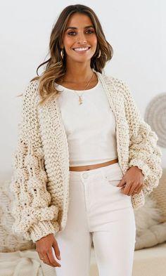 Desert Bound Cream Long Sleeve Chunky Crochet Oversize Cardigan Knit P – Indie XO Cream Cardigan Outfit, Cardigan Outfits, Mode Crochet, Oversized Knit Cardigan, Chunky Crochet, Crochet Clothes, Cardigans For Women, Dress To Impress, Knitwear