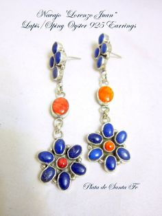 "Navajo""LORENZO JAMES"" Lapis with Orange Spiny Oyster 925 Dangle Earrings 3"""