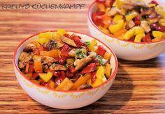 Paprika-Hähnchen-Salat - http://kathys-kuechenkampf.de/paprika-haehnchen-salat/