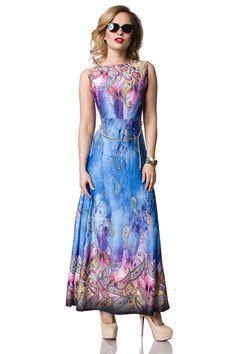 langes Sommerkleid - blau gemustert   Sommerkleider   Kleider   Röcke    BEKLEIDUNG   FRAUEN b038708933