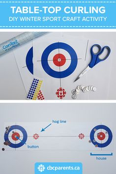 Cool Game for Kids: Table-Top Curling - Want to participate in the Olympic Winter Games at home? Make this super fun table-top curling game - Top Games For Kids, Olympic Games For Kids, Office Olympics, Kids Olympics, Summer Olympics, Curling Game, Olympic Crafts, Tabletop, Sport Craft