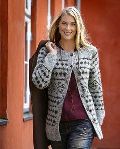 Mønsterstrik er ingen sag, når det foregår på pinde 8 og i dejligt tykt uldgarn, som denne lækre kraftige trøje.