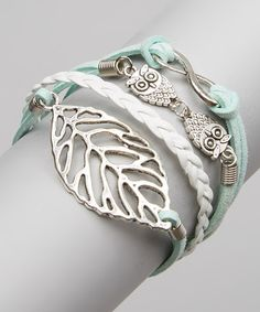 Look at this #zulilyfind! Silver Leaf & Owl Bracelet #zulilyfinds