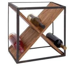 """Wood wine rack with an open antiqued iron frame.    Product: Wine rackConstruction Material: Iron and woodColor: Natural and aged ironDimensions: 16"""" H x 15"""" W x 11"""" DCleaning and Care: Wipe with dry cloth"""