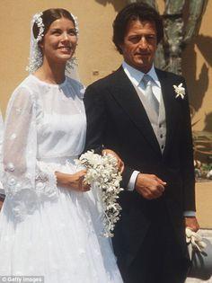 Right: Princess Caroline of Monaco marries Philippe Junot in Christian Dior...