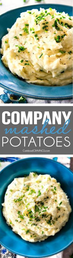 BEST EVER Creamy Company Mashed potatoes infused with butter, garlic, and Parmesan! I could eat these all day alone with a spoon - they are incredibly velvety, flavorful and so good everyone will beg you for the recipe!